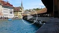 Chapel Bridge (Kapellbrücke) in a Sunny Day in Lucerne, Switzerland.