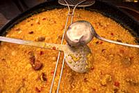 "Spain, food, """"Paella resting for 10 minutes after to be cooked, and before eating it."