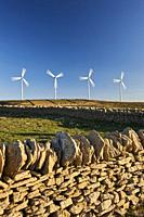Wind farm in mediterranean landscape of Castellfort, Castellon province, Valencian Community, Spain.