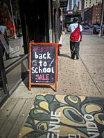 Back-to-school sales are promoted outside a store in the Chelsea neighborhood of New York on Monday, August 5, 2019. The National Retail Federation ha...