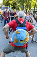 Madrid, Spain, 27th September 2019. View of people with drums protesting against climate change in Paseo del Prado, Madrid city, Spain