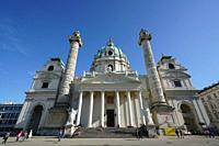 Karlskirche a baroque church located on the south side of Karlsplatz, Vienna, Wien, Austria, Europe.