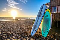 Unused surfboards are rested in the sandy beaches of La Serena, La Serena, Chile.