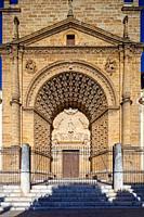 Facade of Santa Maria de la Mesa church, Utrera, Seville, Spain.