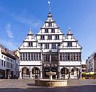 The Renaissance town hall was constructed in 1616 on a market square of the city of Paderborn, North Rhine-Westphalia, Germany, Europe.