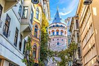 Galata Tower in the wonderful old street of Istanbul, Turkey.