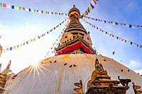 Swayambhunath Stupa or Monkey Temple Buddhist Monastery in Kathmandu, Nepal.