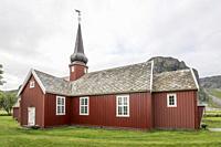 Arctic circle old church, shot under bright light at Flakstad, Lofoten, Norway.