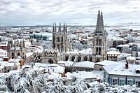 Cathedral of Burgos snowy (Spain).