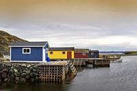 Typical boathouses in a cove, Newfoundland & Labrador, Canada.