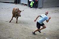 Mora de Rubielos Teruel Aragon Spain on September 28, 2019: Bull festival during the feasts in village.