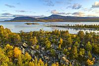 Autumn landscape in Stora sjöfallets national park, view over Stora Lulevatten, Laponia, Swedish Lapland, Sweden.