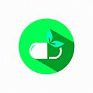 Nature pill icon with shadow on a green circle. Flat color vector pharmacy illustration