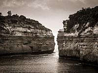 Toned image of limestone cliffs at Loch Ard George, Great Ocean Road, Victoria, Australia.