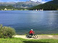 Switzerland, Graubunden Canton, Saint Moritz, Lake.