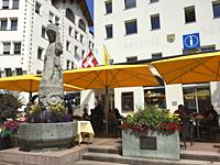 Switzerland, Graubunden Canton, Saint Moritz, Fountain.
