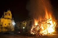 Fuentespalda-Spain, January 18, 2019: Every San Antonio's day, in some village of Teruel province there are big Bonfires in the main squares of the vi...