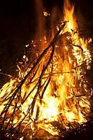 Bonfire of San Antonio party in Teruel province. Spain.