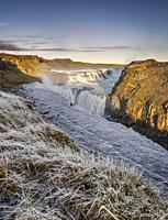 Gullfoss Waterfall in the winter, Iceland.