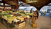 France Brive la Gaillarde 2019 Famous covered food market with early morning clients on a cold day.