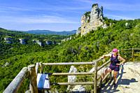 Hiker woman. Izki Natural Park. Alava, Basque Country, Spain, Europe.