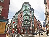 A corner building in the North End, Boston, Massachusetts.