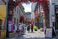 Tourist walk and have lunch at the popular St Paul street in the Old Port. Montreal Quebec.