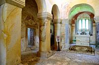 Interior of the pre-Romanesque church of San Salvador de Valdedios, Asturias, Spain.