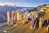 Mallos de Riglos at sunset, Riglos, La Hoya, Huesca, Spain.