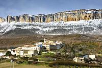 Aramendia village and Loquiz Sierra. Navarre, Spain, Europe.