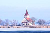 Abandoned Church of St. Linhart in the middle of the Frozen Lake. Musov. Czech Republic
