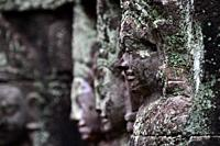 Ancient stone carvings at Terrace of the Leper King in Angkor Thom, Siem Reap, Cambodia,South Esat Asia.
