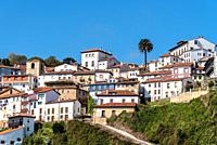 Scenic view of the beautiful fishing village of Lastres in Asturias.