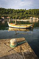 Fishing boat and dock, Sipanska Luka, Sipan Island, Dalmatian Coast, Croatia.