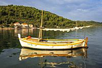 Fishing boat in the bay at Sipanska Luka, Sipan Island, Dalmatian Coast, Croatia.