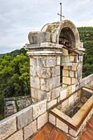 The bell tower at the Church of the Holy Spirit, Sipan Island, Dalmatian Coast, Croatia.