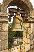 The bell tower at the Church of the Holy Spirit, Sipan Island, Dalmatian Coast, Croatia.