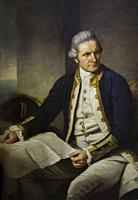 Portrait of Captain James Cook painted by Nathaniel Dance. British explorer, navigator, cartographer, and captain in the Royal Navy.