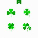 Luck clover leaves vector set isolated on white background. Four and three leaf clover. Flat illustration