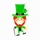 Saint Patricks day with boy in traditional dress and headgear. Ireland celebration festival irish and lucky theme. Flat vector illustration