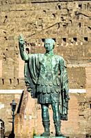 Bronze statue of emperor Marcus Cocceius Nerva on Via dei Fori Imperiali, Rome, Italy.