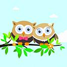 Couple of owls on a spring day. Vector illustration
