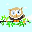 Female owl on a spring day. Vector illustration