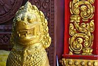Lion statue,temple guard,Phnom Penh, Cambodia,South Esat Asia.