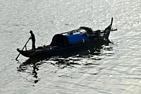 Fisherman boat on the Mekong river in Phnom Penh,Cambodia,South Esat Asia.