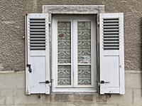 window with shutters, Place dArmes, Saint-Flour, Cantal Department, Auvergne, France.