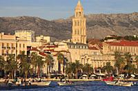Croatia, Split, skyline, cathedral, harbor, boats, people.