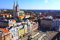 Croatia, Zagreb, aerial view, Josip Jelacic Square.