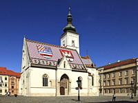 Croatia, Zagreb, Upper Town, St Mark Church.