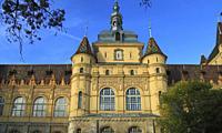 Hungary, Budapest, City Park, Vajdahunyad Castle.